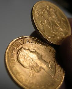 Goldmünze 1 Pfund Sovereign (aus den 50er-Jahren)