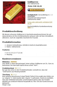 Deko-Goldbarren bei Amazon