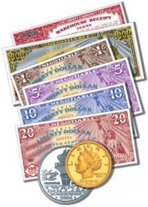 Liberty Dollar: Goldmünze, Silbermünze, Geldscheine (Bild: Wikipedia)