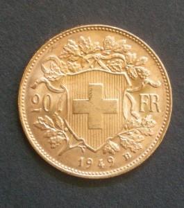Mit dem Vreneli besitzen die Schweizer eine traditionsreiche Goldmünze. Sie wird aber seit 1950 nicht mehr hergestellt (Foto: Goldreporter)