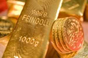 Gold, Münzen, Barren