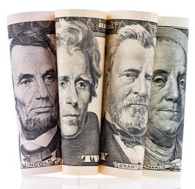 Dollar-Noten: US-Schulden, großflächig über den Globus verteilt (Foto: Fotolia)