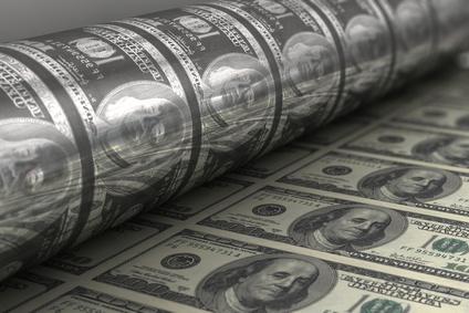 Dollar-Presse: Das Geldsystem hängt am Liquiditäts-Tropf.