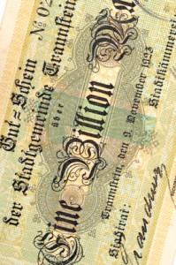 1 Billion Mark: Notgeldschein aus der Zeit der deutschen Inflation 1923. An die Zahlendimension haben wir uns mittlerweile schon gewöhnt.