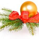 Weihnachtskugel mit Tannenzweig
