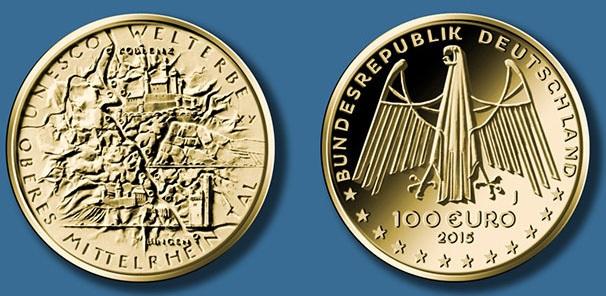 100 Euro Goldmuenze Oberes Mittelrheinthal