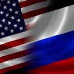Merged Flag of USA and Russia