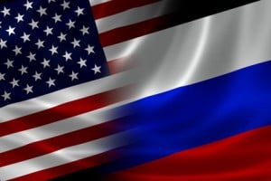 Russsland, USA, Flagge Merged Flag of USA and Russia