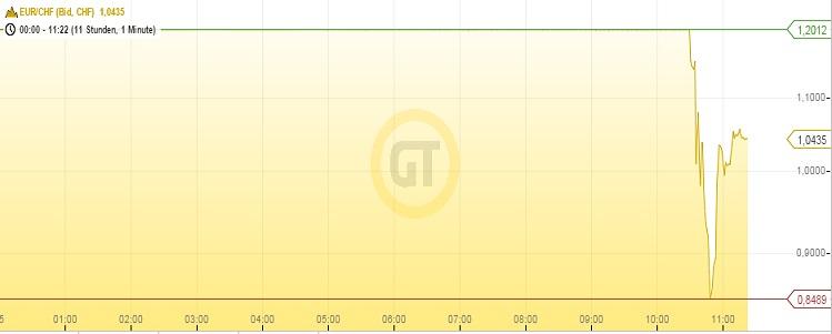 Schweizer Franken Inraday 15.01.14