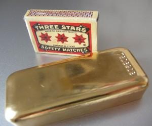 Goldbarren Streichholzschachtel
