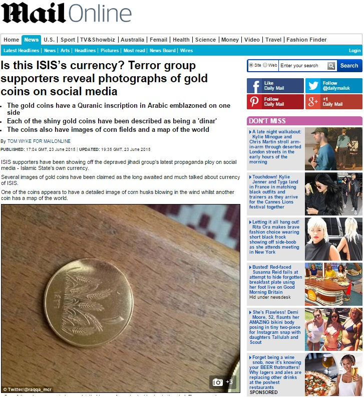 ISIS Gold Silber Muenzen Daily Mail