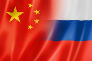 Mixed China and Russia flag, three dimensional render, illustration