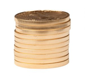 Vertical stack of ten gold coins isolated from background