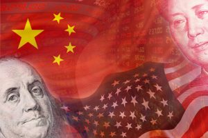 Flags of USA and China and faces of Benjamin Franklin and Mao Zedong with displays of daily stock market prices and quotations. The two biggest economic countries in the world. Financial Concept.