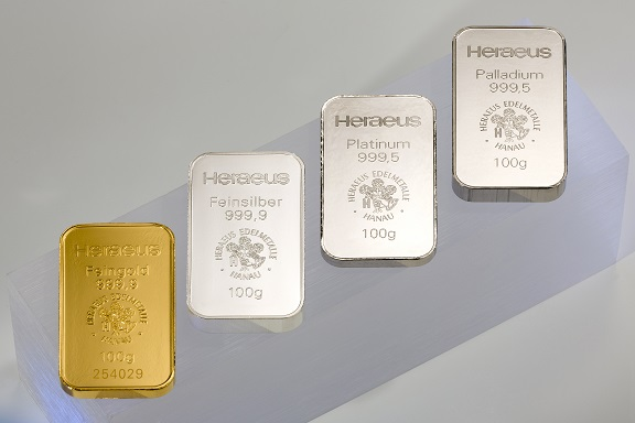 Gold, Silber, Platin, Palladium, Heraeus