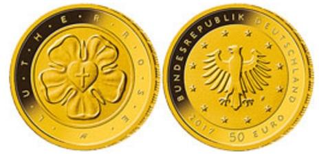 Lutherrose Erste 50 Euro Goldmünze Der Brd Erschienen Goldreporter