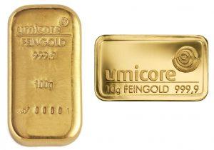 Umicore-Goldbarren, 100 Gramm