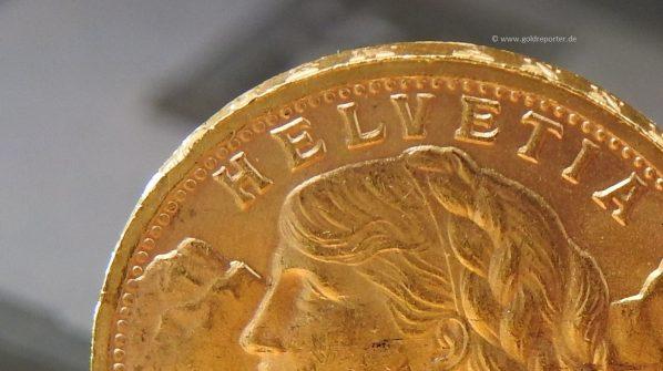 Gold, Vreneli, Münze, bankenüblich