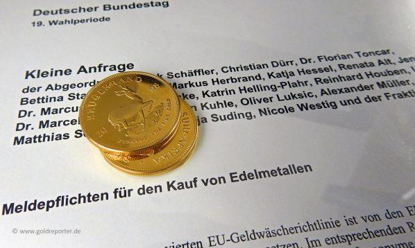Gold, kaufen, anonym, Kleine Anfrage (Foto: Goldreporter)
