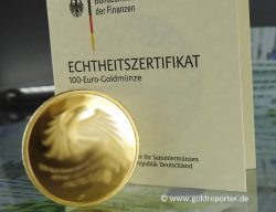 Goldmünze, 100 Euro, BRD (Foto: Goldreporter)
