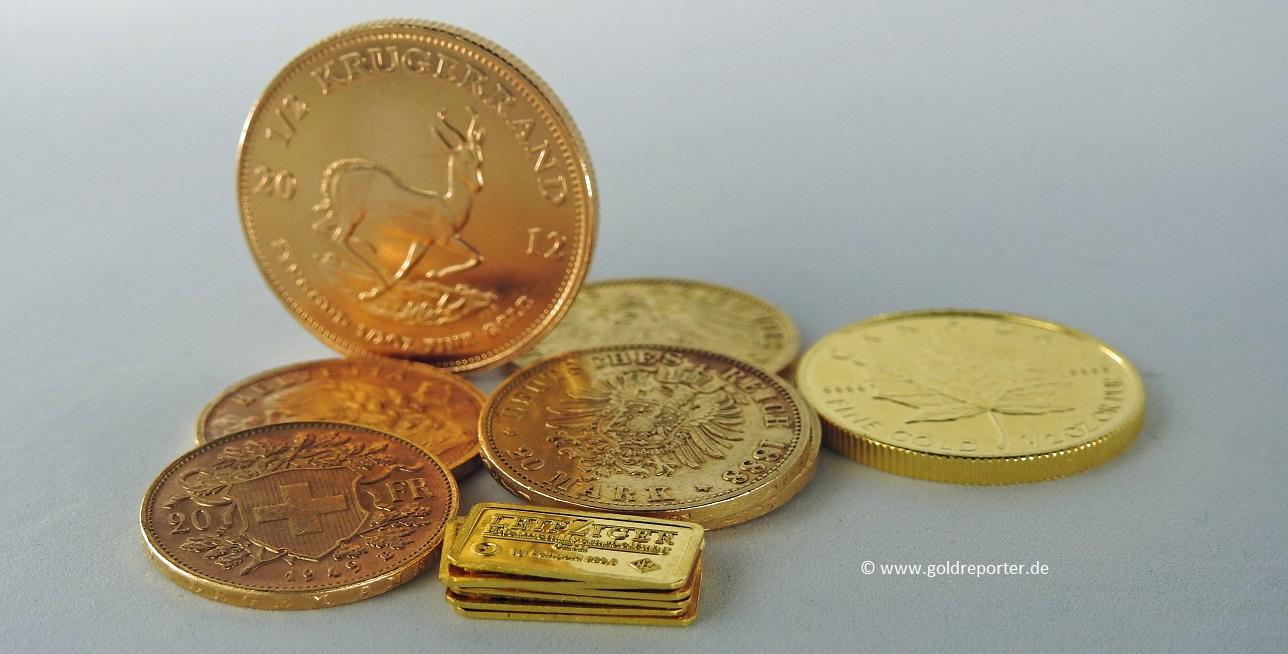 Goldmünzen, Goldbarren, Krügerrand (Foto: Goldreporter)