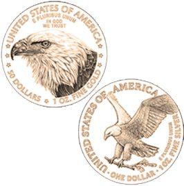 Goldmünze, Silbermünze, American Eagle, Motiv