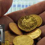 Goldmünzen-in-der Hand